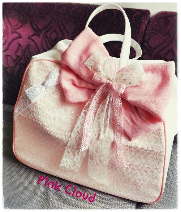 Τσαντα#βαπτιση#κοριτσι#ροζ#δαντελα#βελονακι#φιογκος#pink_cloud