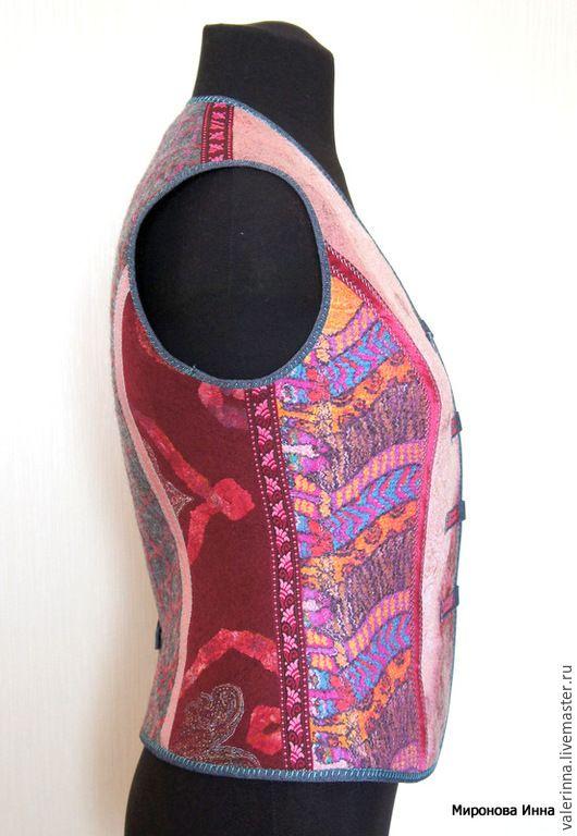 Купить Жилет (размер 36) валяный женский - разноцветный, жилет валяный, Мокрое валяние