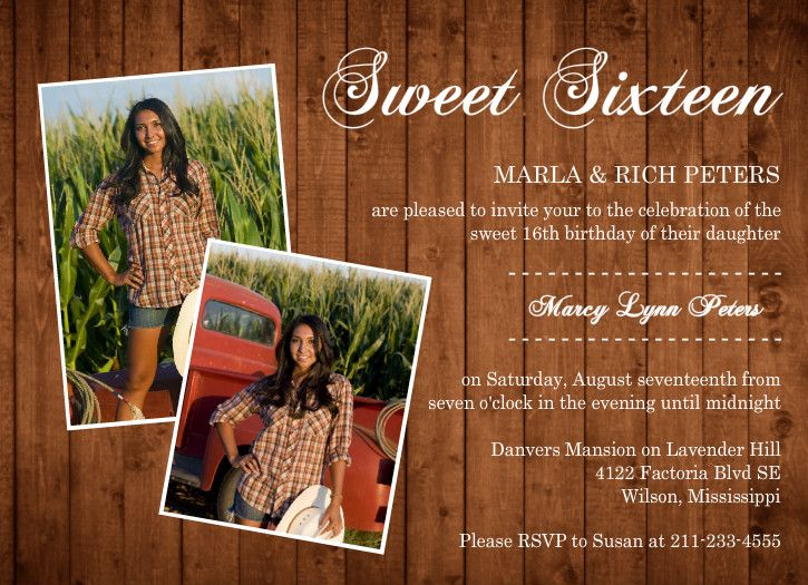 Golden Woodgrain Photo Sweet Sixteen Invitation Idea for Caitlyn's invitations what do yall think?