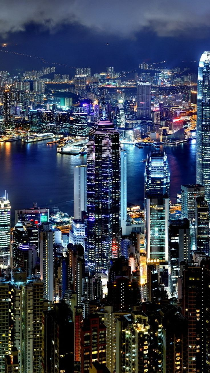 hong kong, city, night, lights, skyscrapers, water #travel