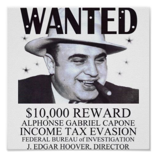 Capone was eventually sent to prison because of a tax evasion conviction, not because of his gang activities or bootlegging. He went to Alcatraz in 1934.