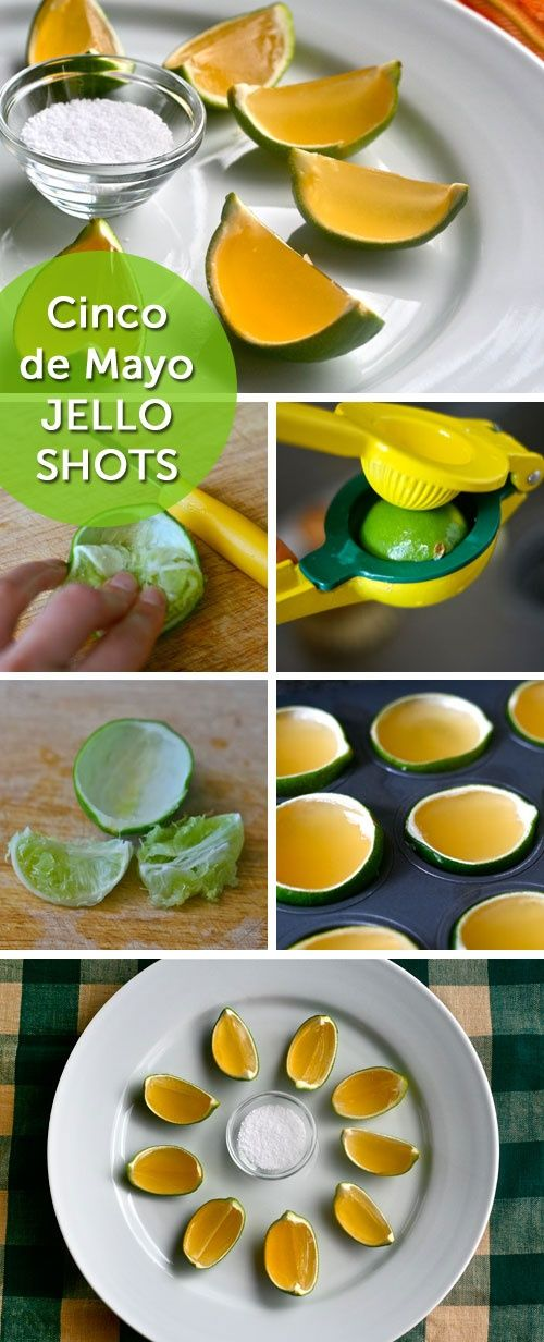 Cinco de Mayo Jello Shots: Tequila, lime, Cointreau, and salt, all in one ridiculously festive Jello Shot. (P.S. Yes, it's in a lime rind!)