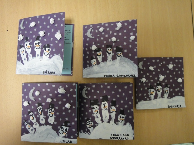 I made these this year with my class and they turned out lovely! Simple finger print snow men.