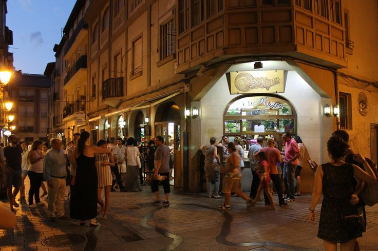 Calle Laurel, the main tapas street in Logroño, Spain