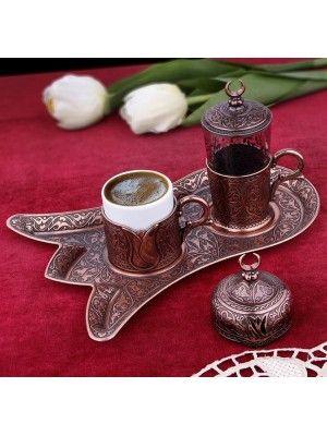 Osmanlı Motifli Lale Tepsili Tek Kişilik Kahve Fincanı Seti - Bakır