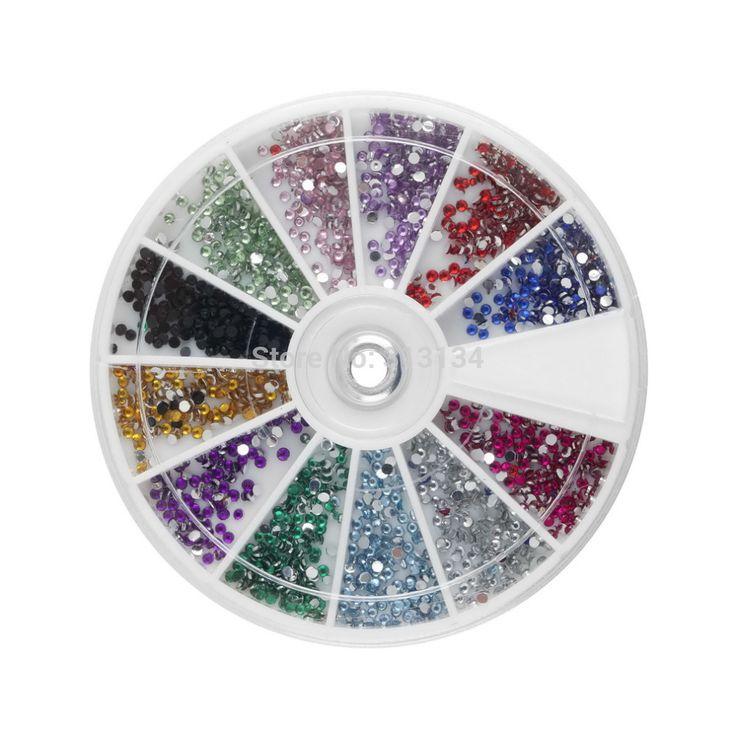 1set 3600pcs 1.5mm Round Rhinestones 12 Colors Hard Case 3d Nail Art Tips Decoration set Created Acrylic UV Gel