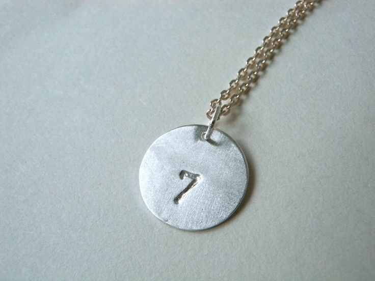 Number 7 Necklace  personalized hand stamped silver by MerieKee, $32.00