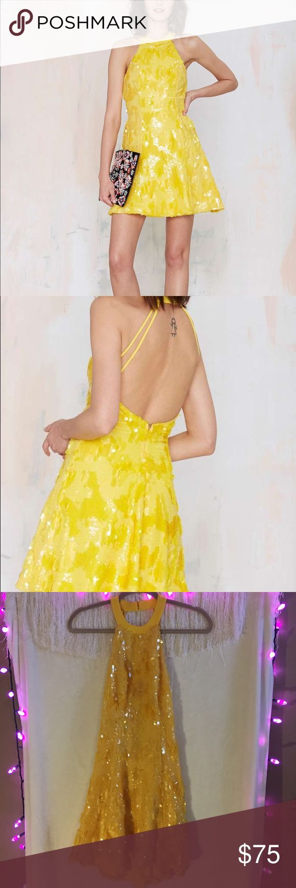 NWT Dress the Population Anni Yellow Sequin Dress Very fun and beautiful dress! Has unique sequin details. Brand new, never worn. Would make a great outfit for a New Years Eve party! Sold out online Nasty Gal Dresses Mini