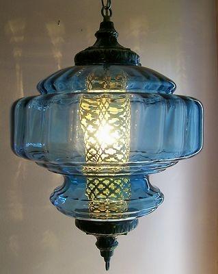 beautiful blue vintage swag lamp