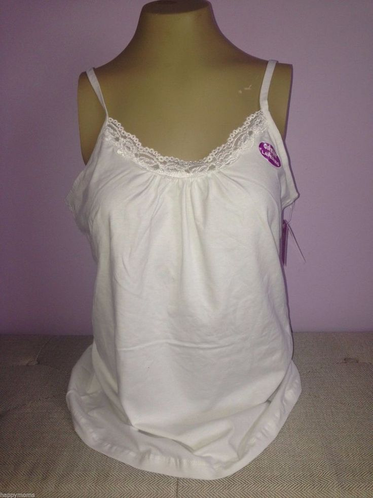 JMS Plus Size Womens Camisole White Lace Cotton Tank Cami Top  1X 2X 3X 4X NWT #JMS #Cami #Casual