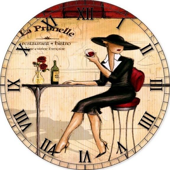 Decoupage #decoupage, #crafts, #DIY, https://apps.facebook.com/yangutu Clock w/lady at table