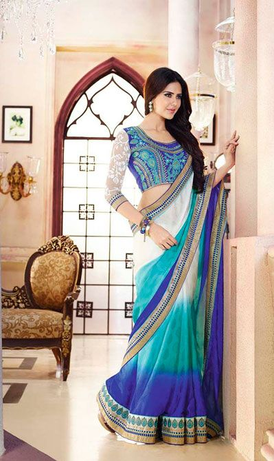 USD 91.98 White and Blue Shaded Party Wear Saree  40206