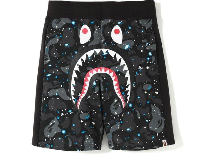A Bathing Ape Shark Blue Camo Bape Sweat Shorts