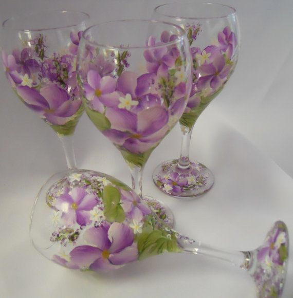 Hand Painted Tulip Wine Glass 4  Spring Garden  by EverMyHart, $59.95