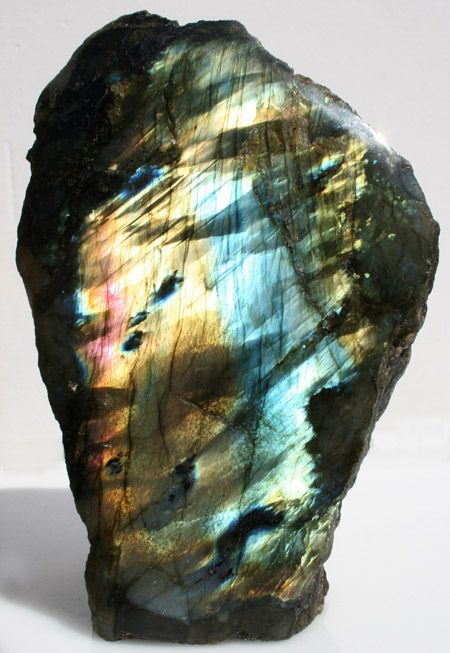 Labradorite is regarded as a highly mystical and protective stone, and is often used by healing arts practitioners as a barrier against negative energies released during treatment. It is thought to facilitate powerful shifts in consciousness, helping to connect with higher energy in the present while imparting the strength and perseverance necessary to clear past difficulties and traumas. Labradorite calms an overactive mind and energizes the imagination . Sharon's favourite.