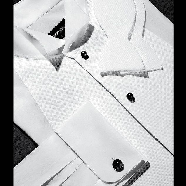"""Giorgio Armani shirt, <em>$595, Giorgio Armani boutiques nationwide,</em> Turnbull & Asser bow tie, <em>$98, <a href=""""http://www.turnbullandasser.com"""" target=""""_blank"""" class=""""icon none"""" >turnbullandasser.com</a>,</em> Cartier cuff links, <em>$860, select Cartier boutiques nationwide,</em> and Lorenz Bäumer shirt studs, <em>$10,198, 19 place Vendôme, Paris</em>"""