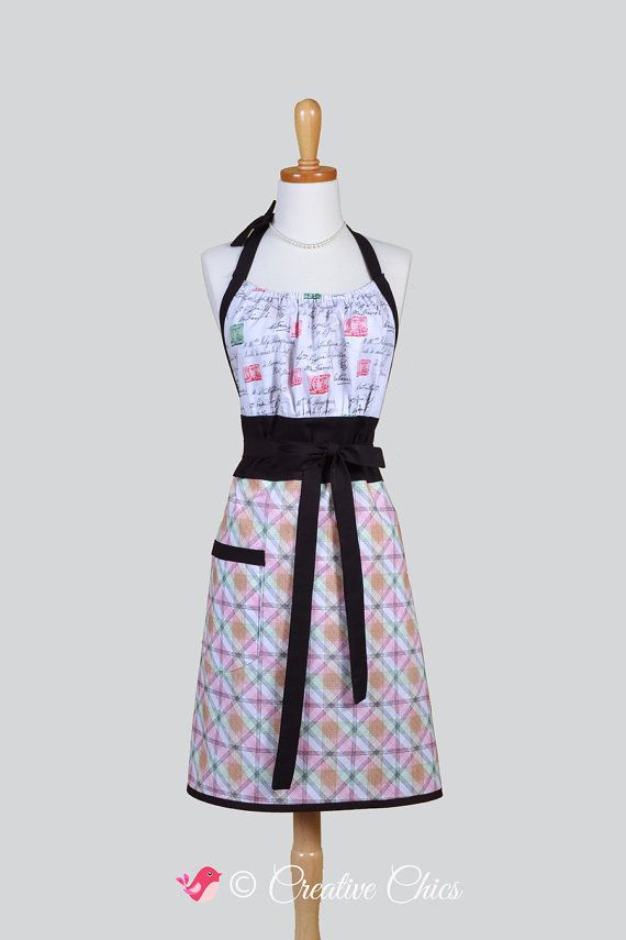 Cute Kitsch Retro Apron . Full Vintage Kitchen Womens Apron Postage Stamp Print and Plaid Handmade Womans Chef Cooking Apron