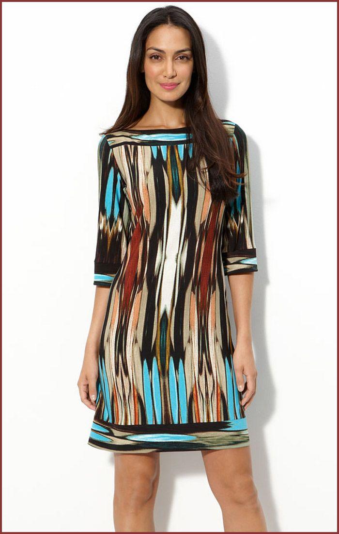 Casual Dresses   Donna Morgan Print Jersey Shift Short Casual Dress   Short Dresses