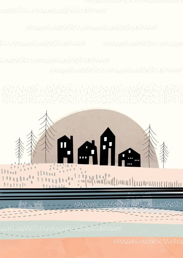 Helemaal blij wordt IPPYS van de collectie van Paper Moon. Deze poster Sussex Sunset heeft zachte kleuren en minimalistische illustraties. Gewoon prachtig!