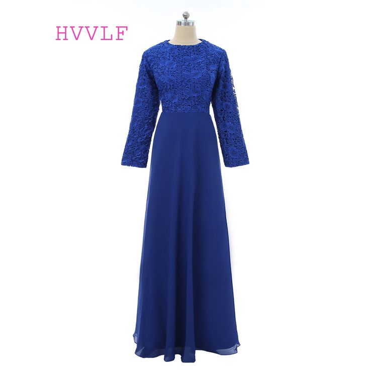 Blue 2017 Muslim Evening Dresses A-line Long Sleeves Chiffon Lace Hijab Islamic Dubai Saudi Arabic Long Evening Gown Prom Dress #Hijab dress