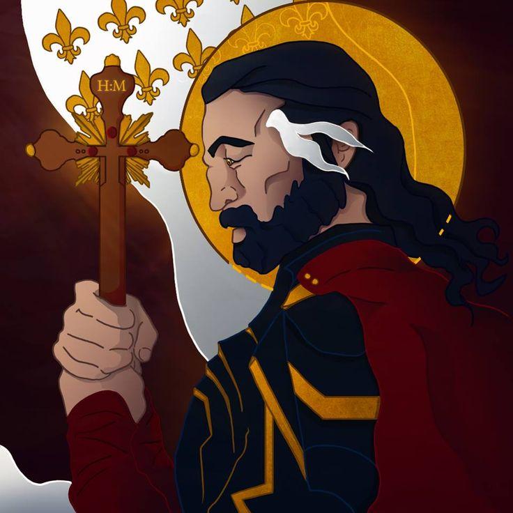 Père George, personnage des Pierres Écarlates  #nanachi #novel #roman #book #alchemy #magic #mythology #celtic #druid #fantasy #blackhair #history #art #digitalart #religion #lys #knight
