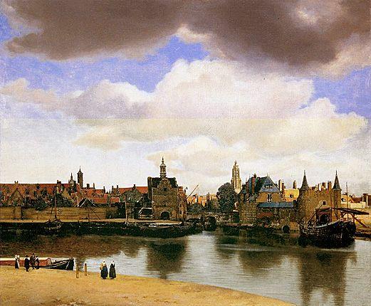 Vue de Delft, 1659-1660, Jan Vermeer, Ville représentée, 2 personnes de dos mettant l'œuvre en perspective à l'échelle. Nuage sujet ppl de l'œuvre. Capte lumière. Peintres Flamands sensibles à capter la lumière