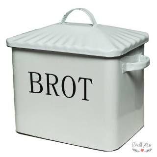 shabbyflair Toller Brotkasten mit Deckel aus Emaille und der Aufschrift BROT In diesem schönen Brotbehälter hält Brot länger frisch Der Brotkasten sieh