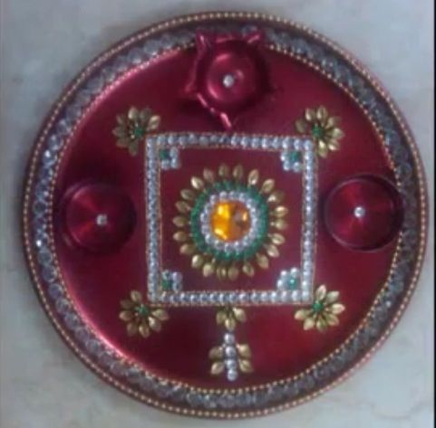 17 best images about aarthi plates on pinterest rakhi for Aarti thali decoration with kundan