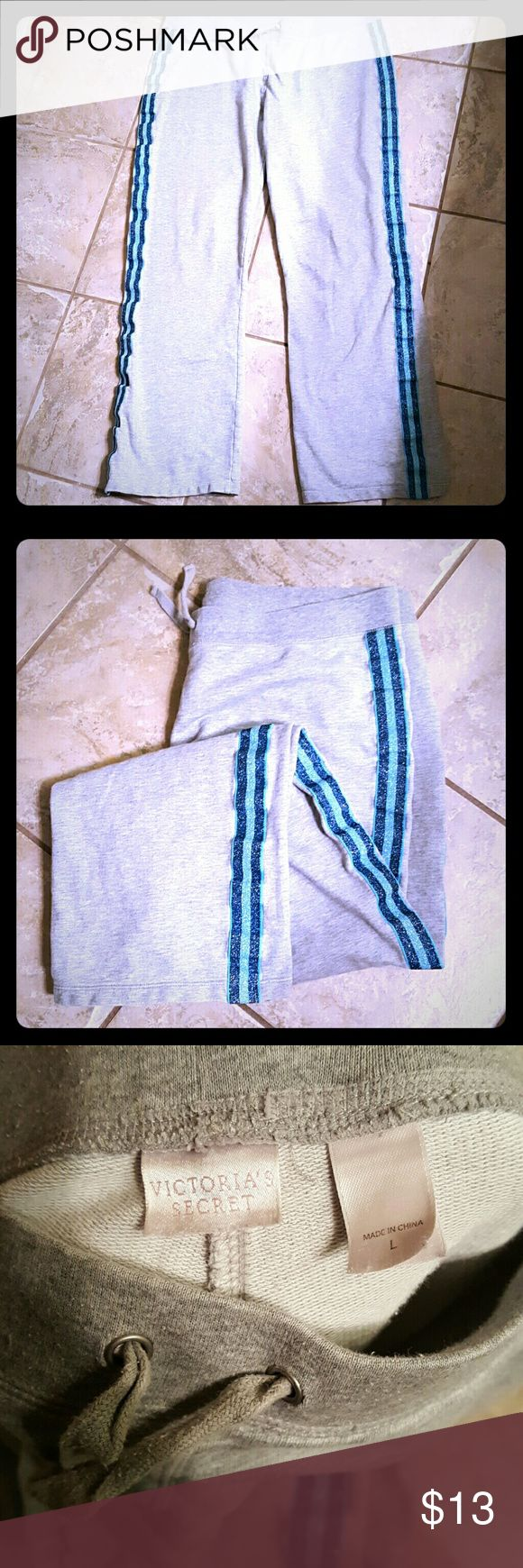 Victorias secret sleep pants/ sweat pants Well loved,no stains,snags,holes etc. Great condition. The back is plain like the front,just sparkly stripes down the legs. Material of a regular sweatshirt. 100% cotton. Final price. Victoria's Secret Pants