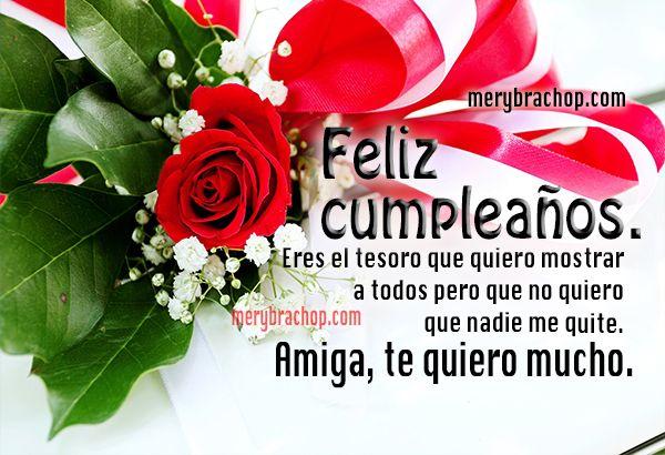 tarjeta con rosas rojas feliz cumpleanos amiga | Tarjetas de feliz ...