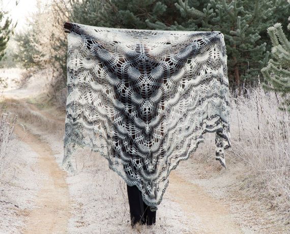 Crochet Shawl, Handmade Big Triangle Shawl Coat, Crochet Triangle Shawl, Dark Gray and White