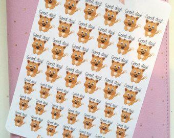 Goede dag kat Stickers | katten, stemming stickers, blij, vrolijk, goede dag | Planner Stickers met Journal Stickers, Scrapbook, kogel Journal, BUJO