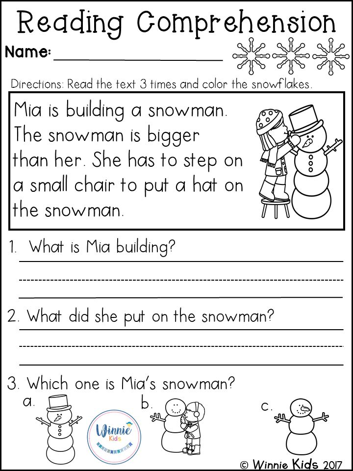 reading comprehension for kindergarten pdf