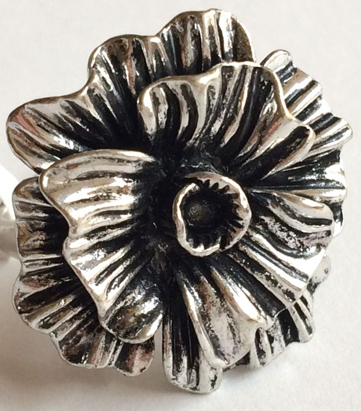 Silver Plated Flower Cocktail Ring Hibiscus Bloom Island Chunky Size 6 7 8 9 USA #Unbranded #Cocktail