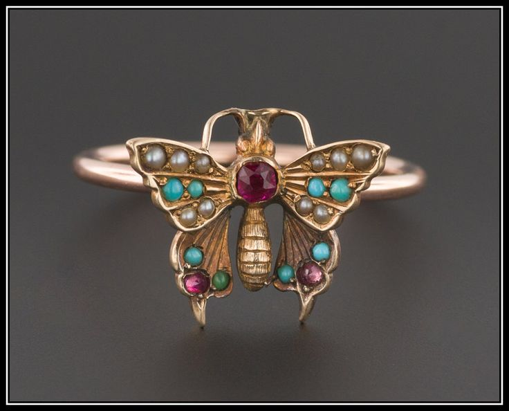 Butterfly Ring | Antique Conversion Ring | 10k Rose Gold Ring | Turquoise Ruby & Pearl Butterfly Ring | 10k Gold Ring | Boho Jewelry by TrademarkAntiques on Etsy https://www.etsy.com/listing/477283732/butterfly-ring-antique-conversion-ring