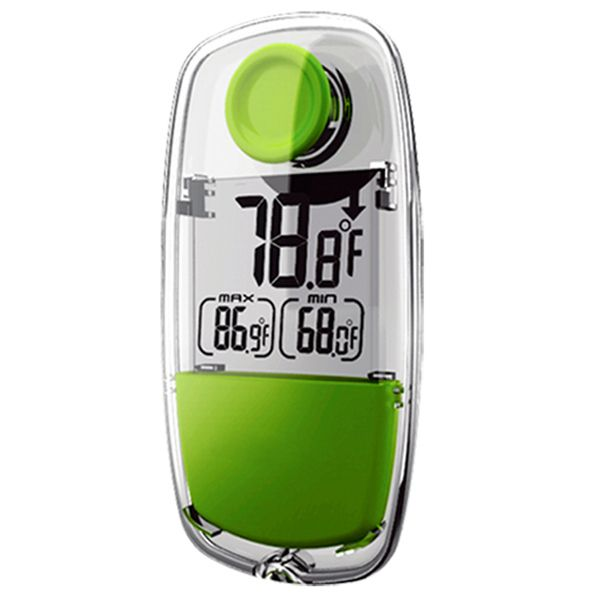 Harness the power of the sun with this compact, eco-friendly Solar Powered Thermometer. Versatile for most climates, it can read both degrees C and F ranging from -13F to 139.5F. It records daily high and low temperatures, and has temperature trend up/down indicators. Plus, a suction cup on the back means that this tiny thermometer is perfect for your car, home, office, and MORE!