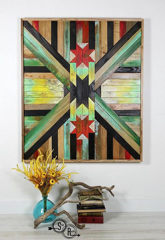 Vivid colors to stimulate your mind and create a happy feeling in your space. Texture and pattern design to compliment a earthy boho or modern farmhouse decor. This barn quilt, made from reclaimed oak flooring, can be a centerpiece for a gallery wall, or used as a headboard for your