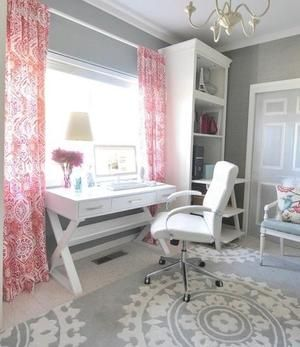 Love all of this - incorporation desk with some storage, but it's not intrusive. Common wooden pieces across desk and book shelf. A bit of pattern in the rug. Perfect. Like the grey with white trim and the rug and white furniture