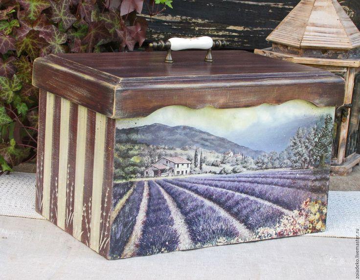 """Купить Большой короб (хлебница) """"Прогулки по полям Прованса"""" - фиолетовый, короб, хлебница, хлебница кантри"""