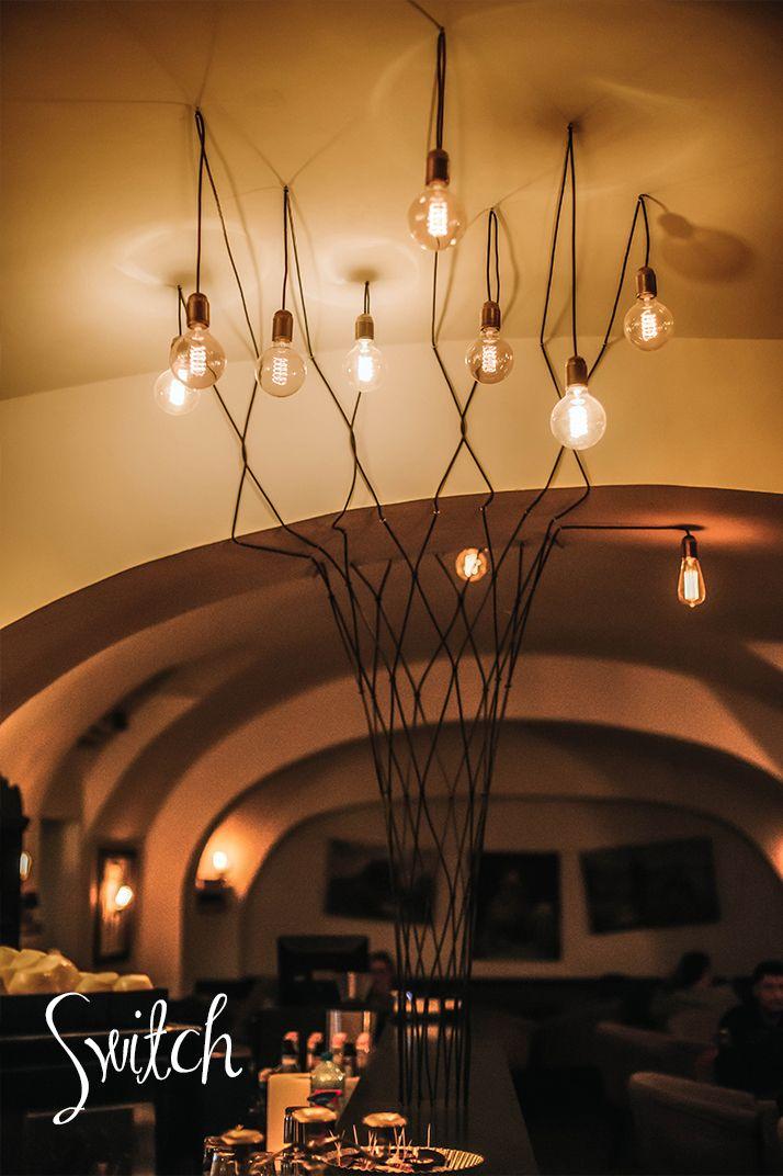 Bulb Edison Style Tree Pendant Light. Nostalgic Interior Design Hanging Lights.