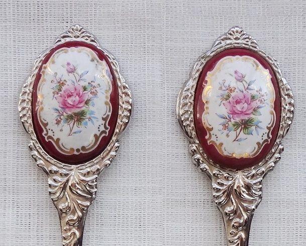 Collector Spoon and Fork Rococo Victorian Romantic Roses Vintage Souvenir