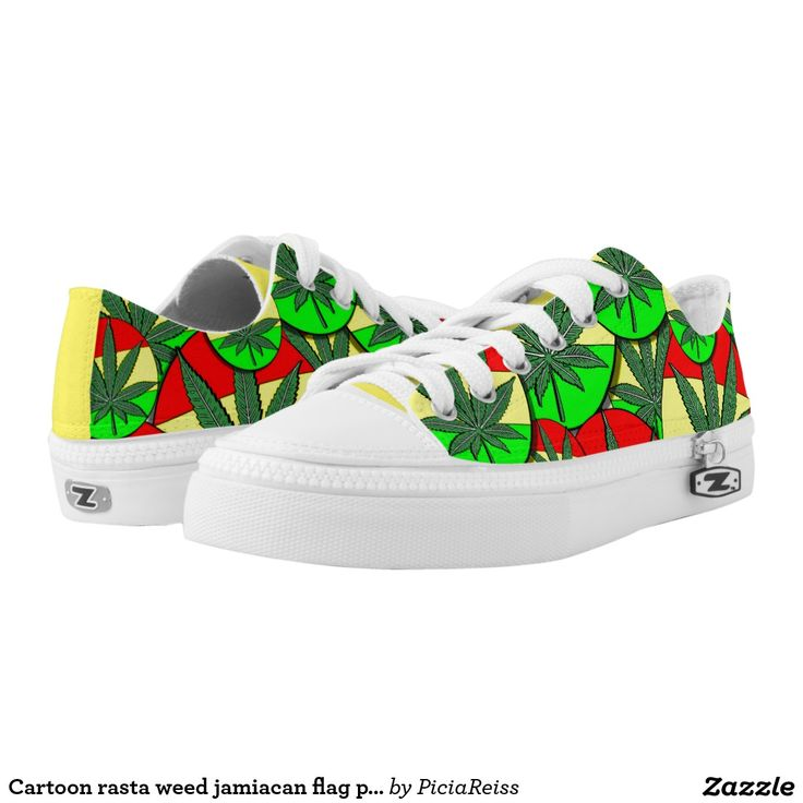 Cartoon rasta weed jamiacan flag pattern printed shoes
