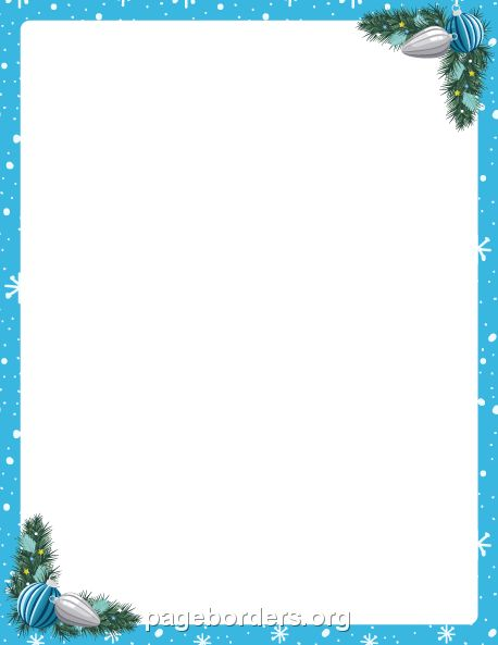 Printable blue Christmas border. Use the border in Microsoft Word or other programs for creating flyers, invitations, and other printables. Free GIF, JPG, PDF, and PNG downloads at  http://pageborders.org/download/blue-christmas-border/