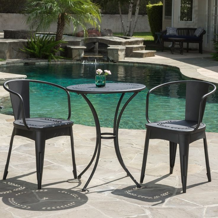 Cheerful and lighthearted in its whimsical styling, our Lourdes outdoor 3-piece bistro set will entice any passerby to pause for a while and just be. Includes: One (1) Bistro set Water Resistant Style