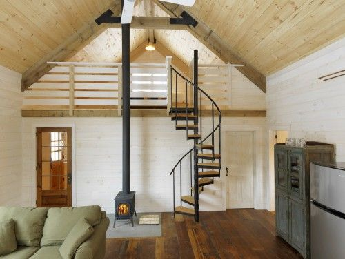 simple: Cabin, Ideas, Tiny House, Dream, Living Room, Loft, Family Room, Spiral Staircases, Design