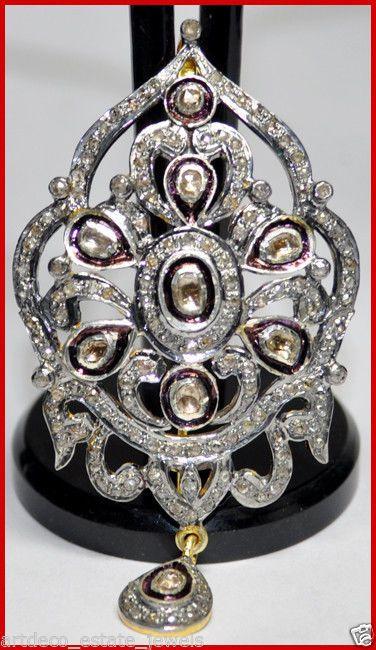 "3 47C Rose Polki Cut Diamond Antique Wedding Silver Brooch Pendant 2 80"" x 1 50"" | eBay"