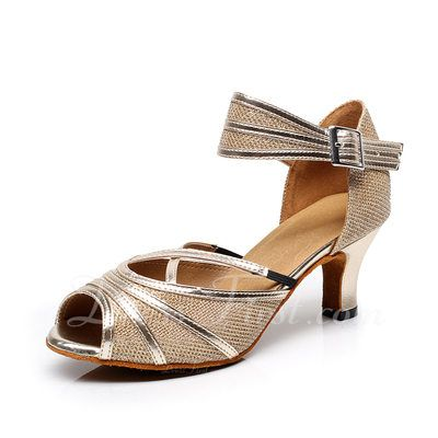 BCLN Womens Open toe Sandals Latin Salsa Tango Heels Practice Ballroom  Dance Shoes with 236 HeelGold PU and BM US *** Details can be found by  clicking on ...
