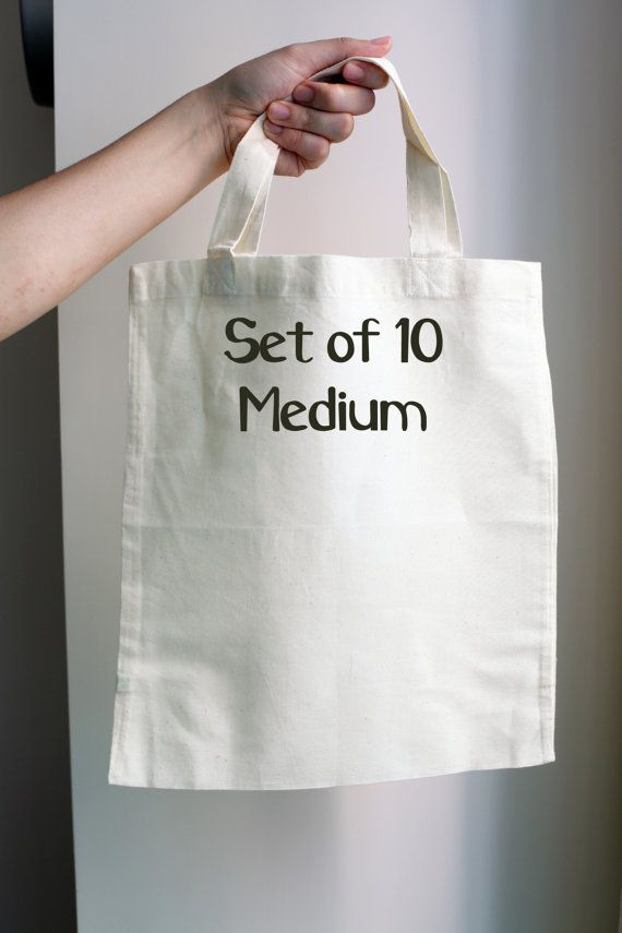 10 Blank Tote Bags 100% Blank Cotton Tote Bag RecycleTote - Canvas Tote - Medium Size - READY TO SHIP - Plain Tote Bag - Tote Bag Supplies