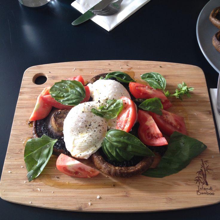 Simple poached eggs on mushrooms at Henleys Wholefoods | Bondi Junction