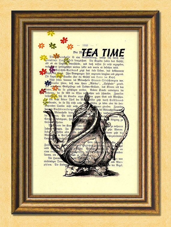 TEA TIME   Dictionary art print  Wall by littlevintagechest, $7.99